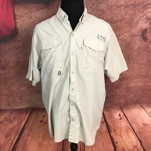 Columbia PFG Nylon Vented Button Front Shirt L